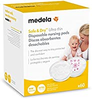 Medela Safe & Dry Ultra Thin - Discos absorbentes desechables, 60 unid