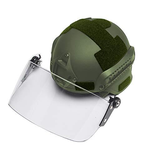 WLXW Mich 2000 Tactical Helm Mit Transparenter Sonnenschutzbrille, PJ Fast Combat Helm, CS Game Airsoft Paintball Shooting Jagdschutzausrüstung,Green -