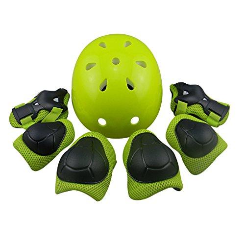 FOKOM 7er Set Kinder Knieschoner Ellbogenschützer Handgelenkauflage Helm für Skateboarder Inline Skates Rollschuhe-Grün