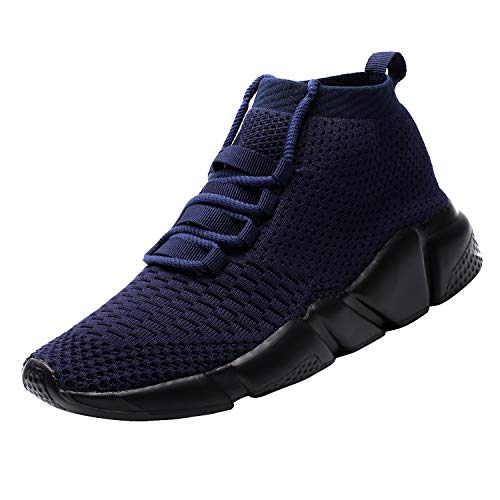 Mevlzz Herren Freizeit-Sneaker Knit Laufschuhe Tennis Schuhe für Herren Walking Baseball Jogging, Blau (0801blue), 45 EU