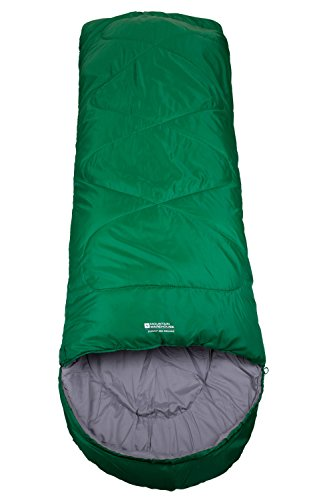 Mountain Warehouse Summit 250 Square Sleeping Bag Camping Hiking Lightweight Outdoor Unisex Festival Green Left Handed Zip