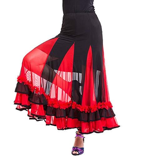 Maritown Frauen Ballsaal Latein Salsa Tango Dance Rock Kleid Lange Schaukel Geometrische Muster Rock Elegante Wettbewerb Tanzen (Latein Kostüm Muster)