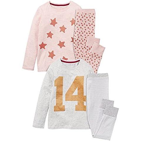 next Niñas Júnior Paquete De 2 Pijamas Estrella Rosa Gris De Algodón (3-16 Años)