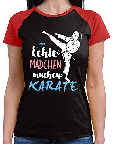 HARIZ  Damen Baseball Shirt Echte Mädchen Karate Sport Inkl. Geschenk Karte Black/Red S
