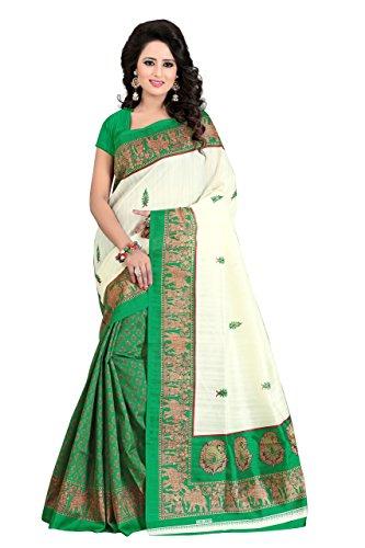 J B Fashion Women's green cotton saree with blouse piece (saress for...