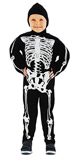 2 tlg. Kostüm Skelett - 3 bis 6 Jahre - Gr. 104 - 116 - Karneval / Skelettkostüm / Overall + Kapuze - für Kinder Kind Kinderkostüm Fasching + Halloween (Kostüm Kleiner Junge Bis)