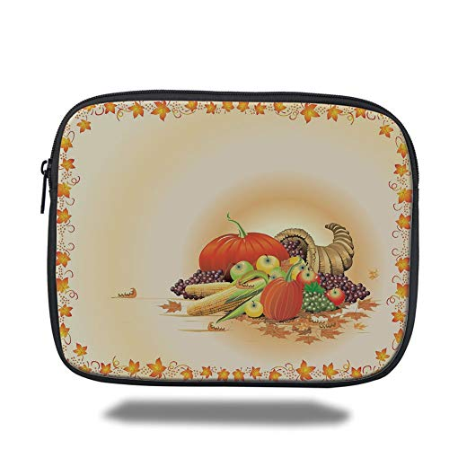 Tablet Bag for Ipad air 2/3/4/mini 9.7 inch,Harvest,Maple Tree Frame with Rustic Composition for Thanksgiving Halloween Dinner Food,Multicolor,Bag (Halloween Foods Dinner)