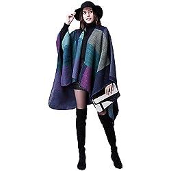 Las mujeres calientan la tela escocesa suave comprobaron el cabo hecho punto del tartán del invierno El mantón con estilo del poncho