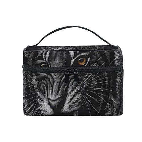 Tier Tiger schwarz Kosmetiktasche Reisen Make-up Tasche Veranstalter für Frauen Mädchen Kulturbeutel tragbare Lagerung Leinwand Kosmetik (Kinder Jubeln-tasche)
