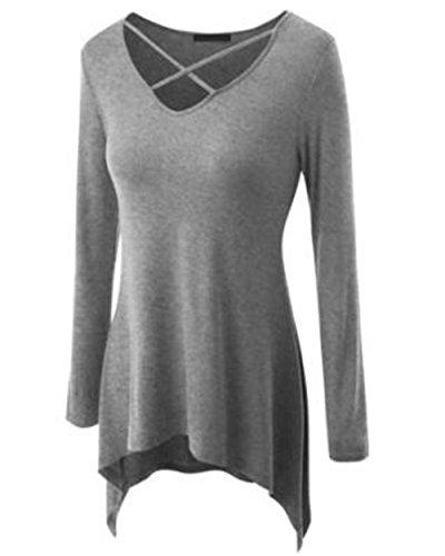 BESTHOO Donna Camicetta Maglietta T-Shirt Maglia Blusa Manica Lunga Sexy Ufficio Collo V Camicia Puro Colore Maglietta Lunga Orlo Irregolare Gray