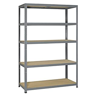 Avasco 175 Strong Adaptable/Heavy Load Shelving Unit Metal/Wood with 5 Shelves Galvanised Light-Coloured, grey, 5400431608359