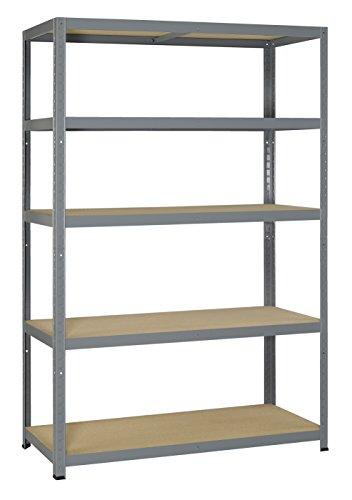 175 Holz (Avasco 175 Strong Regal aus Metall/Holz, Aufsteckmechanismus, mit 5 Ablageflächen, klar, galvanisiert, grau, 5400431608359)