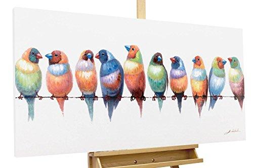 KunstLoft® Acryl Gemälde 'Noisy Twitter' 120x60cm   original handgemalte Leinwand Bilder XXL   Bunt Vögel Freunde Tiere   Wandbild Acrylbild moderne Kunst einteilig mit Rahmen (Original ', Gemälde)