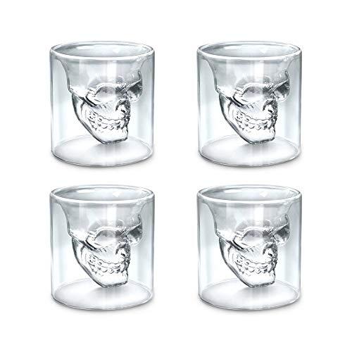 (KNDJSPR Set von 4 Skull Glass Becher Crystal Skull Drinking Cups Doppel-Wand-Cool Beer Cup Creative Transparent Pirate Shot Gläser für Wine Cocktail Vodka Halloween für Party,150ml)