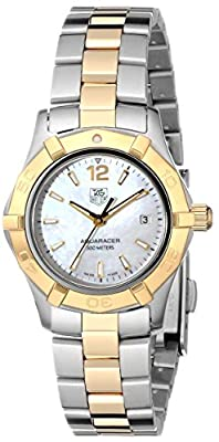 Tag Heuer Women'S Waf1424.Bb0825 Aquaracer 28Mm 18K Yellow Gold Mother-Of-Pearl Dial Watch