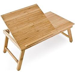 Relaxdays 10016734 mesa plegable con cajón de bambú 55 x 33 x 24 cm