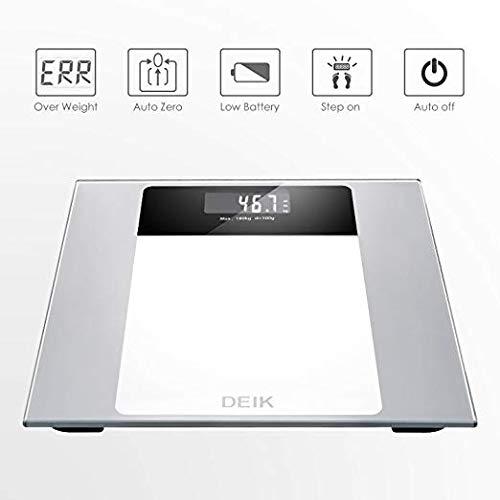 Deik Bilancia Pesapersone Digitale alta Stabilità Piattaforma Vetro Temperato con LCD Schermo Retroilluminato,Tecnologia Step-on, includere metro a nastro e batteria AAA, 5kg-180kg - 2