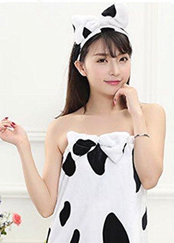 Smarstar – Set Serviette/ Peignoir de Bain Sauna Kilt Serviette femme avec Bandeau cheveux En Flanelle – dos élastique – Taille Unique – couleur disponible Vache
