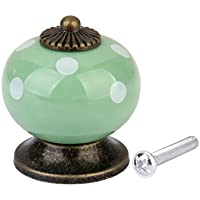 Rotondo Maniglia Ceramica A Pois Pomelli Mobili Cassetto Porta Manopola Casa - Verde