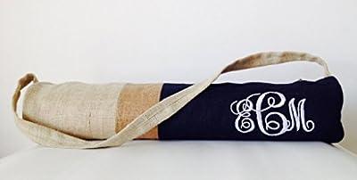 Amore SONP handgemachte personalisierte Monogramm Yoga Mat Bag in Marineblau Jute Farbe Block Design–Yoga Tasche, bestickt, Yoga Zubehör Tasche–Tasche Taschen–Geschenke für SIE Geschenk für ihn