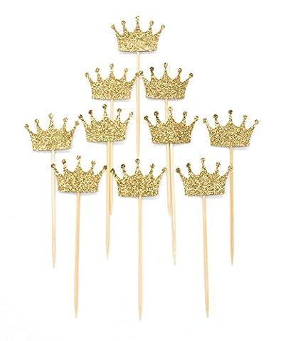 PuTwo Décoration Gâteau Lot de 10 Figurine Gâteau Cupcake Pour Anniversaire Mariage Fête Cake Topper - Couronne Or