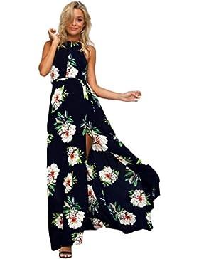 Ouneed Las mujeres de Gasa floral sin mangas de espalda bohemio largo Maxi noche fiesta playa vestido de novia