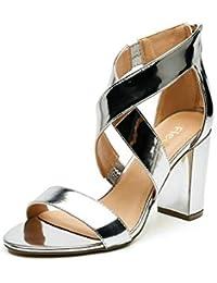 Fiesta Mujer Color Para Plata es Amazon Zapatos De PFAt6nU