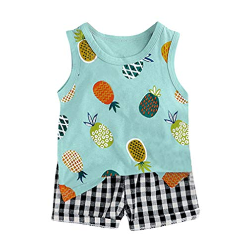 Knowin-baby body Ärmelloses Cartoon-Tanktop mit Ananas-Print für Kinder + zweiteiliges Set mit Karierten Shorts Kleinkind Baby Kinder Jungen Ananas Weste Tops Plaid Short Casual Outfits ()