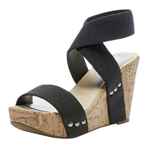 cinnamou High Heels Sandalen,Retro Frauen Runde Kopf Wedges Flats Elastic Band dicken unteren Sandalen Hausschuhe