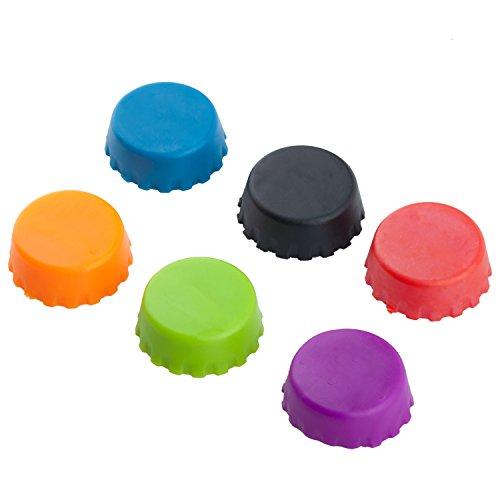 TRIXES Set mit 6 Silikon Flaschen Kronkorken Deckel in verschiedenen Farben