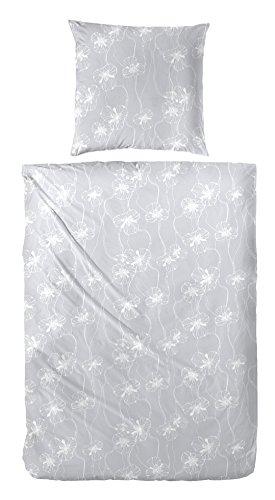 Seersucker Bettwäsche Premium 216010 100% Baumwolle in Grau Elfenbein 135x200 + 80x80 cm