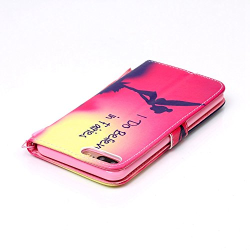 iPhone 8 Plus Hülle, STENES Stilvoll Serie Kartenfach Standfunktion Magnet Ledertasche Wallet TPU Stoßfänger Schutzhülle für iPhone 7 Plus / iPhone 8 Plus - Sonnenuntergang Strand / Blau Fee Mädchen / Rot