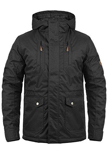 SOLID Bellippo Herren Winterjacke Lange Jacke Parka mit Kapuze aus hochwertigem Material, Größe:M, Farbe:Black (9000)