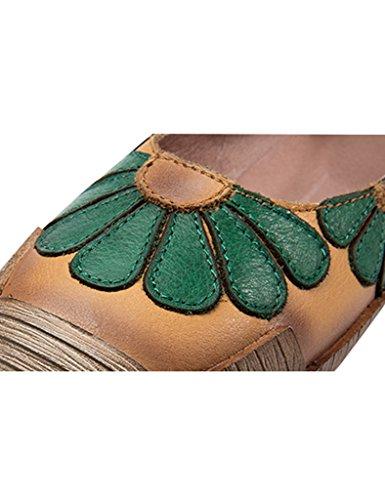 Youlee Femmes Fleurs Velcro Fait main Cuir Chaussures Vert