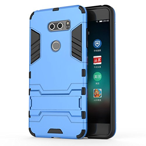 YHUISEN LG V30 Case, 2 in 1 Iron Armour Tough Style Hybrid Dual Layer Armor Defender PC + TPU Schutzhülle mit Stand Shockproof Case für LG V30 ( Color : Blue ) Blue