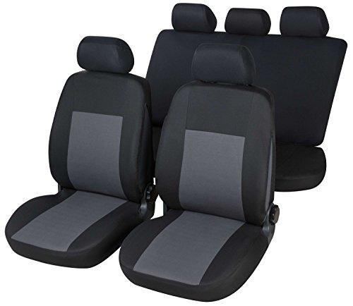 RMG R16V233 coprisedili per 207 fodere auto neri grigi compatibili con sedili dotati di airbag braciolo e sedili posteriori sdoppiabili