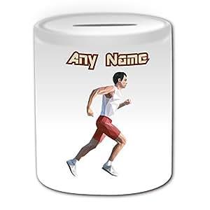 Cadeau personnalisé–Course à Pied Tirelire (Thème Design Sport, blanc)–N'importe Quel Nom/Message sur votre unique–Jogging Sprints Athlétisme Marathon