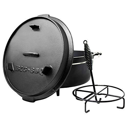 ToCis Big BBQ Premium Dutch Oven 12.0 Gusseisen eingebrannt 14er Kochtopf mit Deckelheber Deckelständer mit Füße
