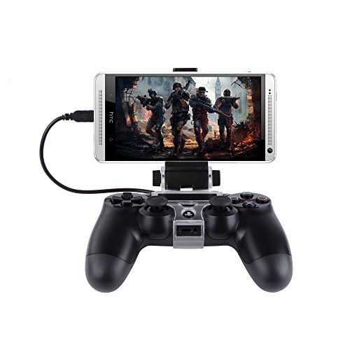 "Price comparison product image 180 Degree Cell Phone Gaming Clip, Megadream Playstation PS4 Controller Game Smart Phone Mount Bracket Storage Tablet Stand Holder Maximum Clamp 6"" for Android Samsung Sony HTC with OTG Data Cable"
