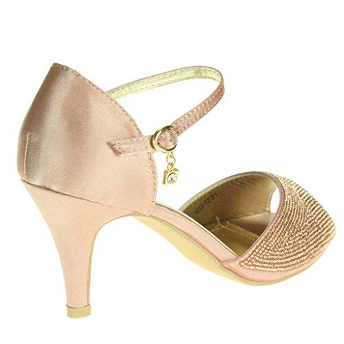 Frau Damen Fesselriemen High Heel Abendliche Feier Braut Hochzeit Prom Sandals Schuhe Größe Rosa