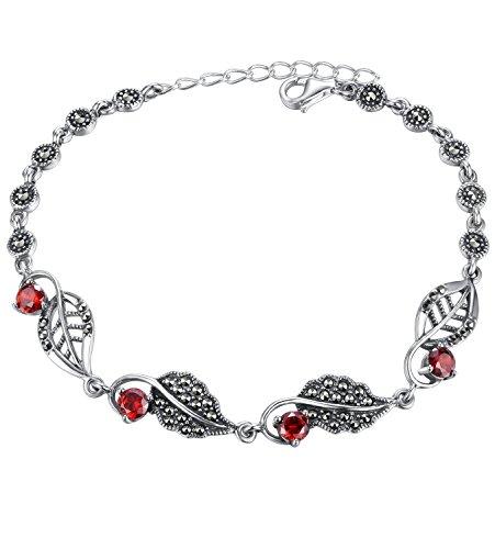 Aoiy Damen-Armband, Thai Sterling Silber Oxidiert, Blatt con Markasit und rote Zirkonia, für Mädchen und Frau, Antikes Ende, zgb002ho