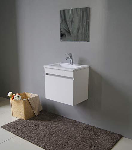 STARBATH PLUS Conjunto Mueble de Baño Suspendido MDF 50 x 35 cm Lavabo Resina 51 x 36 cm Espejo Berlin Blanco