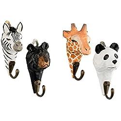 4pared Ganchos perchero de madera jirafa, Zebra, oso, Panda con ganchos de metal hecho a mano 13cm habitación de los Niños