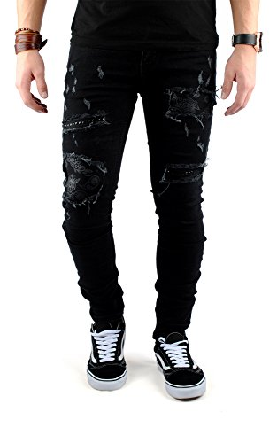 Skinny Nieten Jeans (FiveSix Herren Slim-Fit Used-Look Denim Destroyed-Look Zerrissen Löcher Bikerjeans Nieten Skinny Jeans Hose mit Stretch Schwarz EU 32/32)