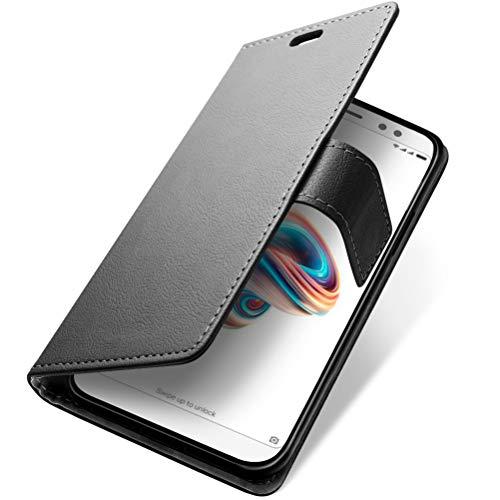 Funda Xiaomi Redmi Note 5 Pro / Xiaomi Redmi Note 5,SLEO Carcasa Libro de Cuero con Tapa Ultra Delgado Billetera Cartera [Ranuras de Tarjeta,Soporte Plegable,Cierre Magnético] Elegante Case Flip Cover para Xiaomi Redmi Note 5 Pro / Xiaomi Redmi Note 5 - Negro