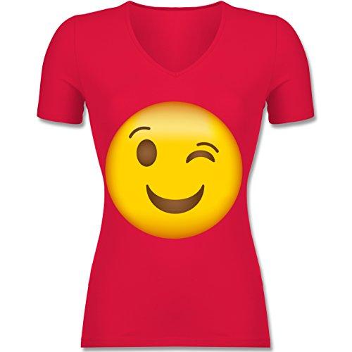 Comic Shirts - Zwinker Emoji - Tailliertes T-Shirt mit V-Ausschnitt für Frauen Rot