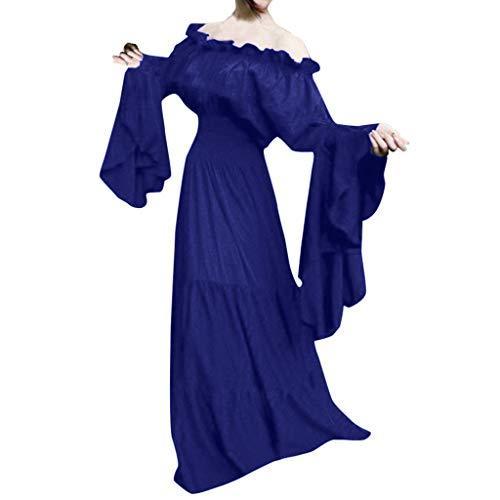 Mittelalter Renaissance Cosplay Vintage Party Club Maxi-Kleid Mittelalterliches Kostüm Damen Lange ärmel Renaissance Trompetenärmel Maxikleid Karneval(Blau,L) ()