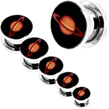 tumundo 1 Pieza o Kit Túnel Dilataciones Acero Inox Pendientes Piercing Expansor Saturno Planeta Universo Ø