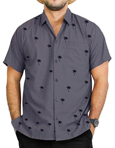 La Leela Strand Hawaiihemd Herren XS - 5XL Kurzarm Front-Tasche Hawaii-Print Casual Button Down Hemd Grau XL P045 (Besticktes Hawaii-hemden)