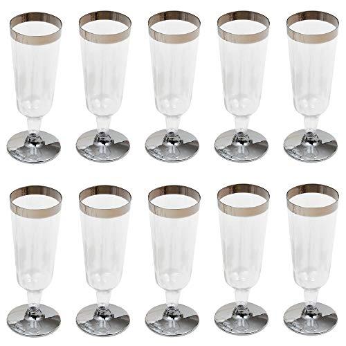 GRÄWE Lot de 10 flûtes jetable, coupes à Champagne stables en plastique transparent, avec bord argentés, 0,15 l